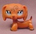 Littlest Pet Shop #640 Brown Dachshund Puppy Dog with Fancy Swirl on Forehead and Ears