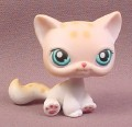 Littlest Pet Shop #224 White & Tan Kitten Kitty Cat with Leopard Spots & Blue Eyes, 2005 Hasbro