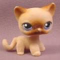 Littlest Pet Shop #318 Brown Flocked or Fuzzy Kitten Kitty Cat with Blue Eyes, Hasbro