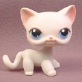 Littlest Pet Shop #64 White with Pink Accents Kitten Kitty Cat with Blue Eyes, 2004 Hasbro