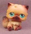 Littlest Pet Shop #22 Brown & Tan Long Hair Persian Kitten Kitty Cat with Blue Green Eyes, 2004