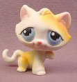 Littlest Pet Shop #52 White & Orange Kitten Kitty Cat with Blue Eyes, 2004 Hasbro
