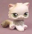 Littlest Pet Shop #328 White & Gray Persian Kitten Kitty Cat with Green Eyes, 2007 Hasbro