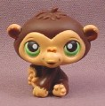 Littlest Pet Shop #223 Dark Brown Baby Gorilla Ape Monkey Chimp with Green Eyes, Hasbro