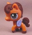 Littlest Pet Shop #627 Brown Horse with Fuzzy Dark Brown Mane & Tail, Blue Saddle & Eyes, 2007