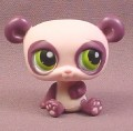 Littlest Pet Shop #1305 Lavender Panda Bear with Dark Purple Ears & Green Eyes, 2007 Hasbro