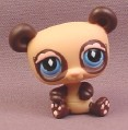 Littlest Pet Shop #574 Tan & Dark Brown Panda Bear with Blue Eyes, 2007 Hasbro