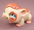 Littlest Pet Shop #683 Cream & Brown Guinea Pig with Brown Eye Patch, Pink Feet & Blue Eyes