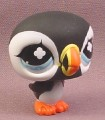 Littlest Pet Shop #654 Black & White Puffin Bird with Blue Eyes, 2008 Hasbro
