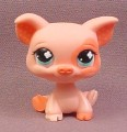 Littlest Pet Shop #622 Pink Pig with Dark Pink Eye Patch & Hooves, Polka Dots in Ears, Blue Eyes