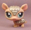 Littlest Pet Shop #638 Armadillo with Silver Gold Armor & Blue Green Eyes, 2008 Hasbro