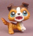 Littlest Pet Shop #237 Chocolate & Brown Collie Puppy Dog with Blue Eyes, Barking Open Mouth