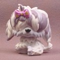 Littlest Pet Shop #465 Purple & White Sheepdog Puppy Dog with Hair Over Eyes, 2007 Hasbro