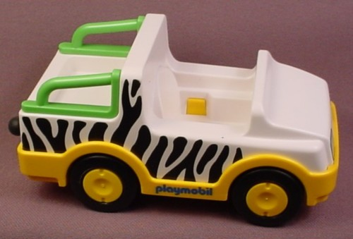 playmobil 123 safari jeep with zebra stripes pattern and green rails clip on hitch 6743. Black Bedroom Furniture Sets. Home Design Ideas