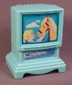 Fisher Price Dream Dollhouse 1995 Aqua Blue TV Television Console & VCR, 4625 74625