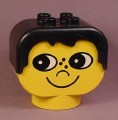 Lego Duplo 2303 Yellow 2x4x3 Figure Head with Black Male Hair & Face with Freckles Pattern