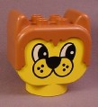 Lego Duplo 2303 Yellow 2x4x3 Dog Figure Head with Spotted Muzzle Pattern