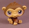 Littlest Pet Shop #359 Brown Baby Monkey With Purple Eyes, Sitting Pose, Chimp, 2006
