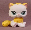 Littlest Pet Shop #207 White Long Hair Persian Kitty Cat Kitten With Blue Green Eyes, Yellow Tail