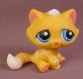 Littlest Pet Shop #349 Orange Tabby Kitty Cat Kitten With White Stripes & Blue Eyes, 2006
