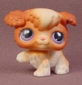 Littlest Pet Shop #37 Brown & White Poodle Puppy Dog With Pink & Purple Eyes, Paw Raised,  2004