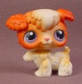 Littlest Pet Shop #37 Orange Brown & White Color Variant Poodle Puppy Dog Pink & Purple Eyes