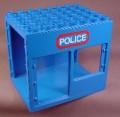 Lego Duplo 2210 Blue 6X8X6 Building With Door & Window Openings, Police Pattern, 2672