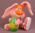 W. Berrie Pink Rabbit PVC Figure With Green Easter Egg, 2 1/2 Inches Tall, Wallace Berrie