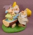 Disney Snow White Dwarfs Dopey Happy & Sneezy Washing In Water Trough PVC Figure