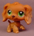 Littlest Pet Shop #252 Brown Cocker Spaniel Puppy Dog With Green Eyes, One Raised Paw
