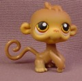 Littlest Pet Shop #256 Brown Monkey With Orange Brown Eyes & Curly Tail, 2007, Hasbro