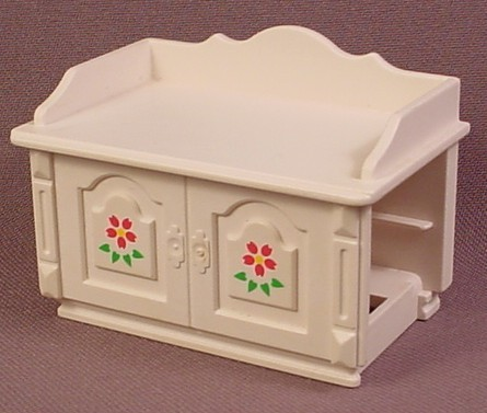 Playmobil white victorian change table with flower design Table playmobil