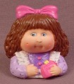 Cabbage Patch Kids Pencil Topper Figure, Brunette With Pink Ribbon, Purple Shirt, Soft Vinyl