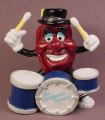 California Raisins Drummer PVC Figure With A Black Hat & A Set Of Drums, 3 1/4 Inches Tall