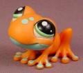 Littlest Pet Shop #1570 Orange & Teal Tree Frog With Green Eyes, 2 Posts On The Head, 2007