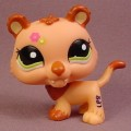 Littlest Pet Shop #2227 Light Orange Sabertooth Kitty Cat Kitten With Green Eyes, Tiger