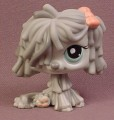 Littlest Pet Shop #1458 Gray Sheepdog with Aqua Blue Eyes & Pink Bow, Sheep Dog, Mop Dog