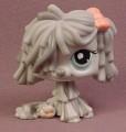 Littlest Pet Shop #1458 Gray Sheepdog with Aqua Blue Eyes & Pink Bow, Sheep Dog, Mop Dog