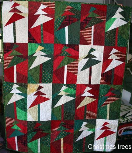 Christmas Tree Paper Piecing Patterns: Christmas Trees Paper Pieced Hand Crafted Quilt