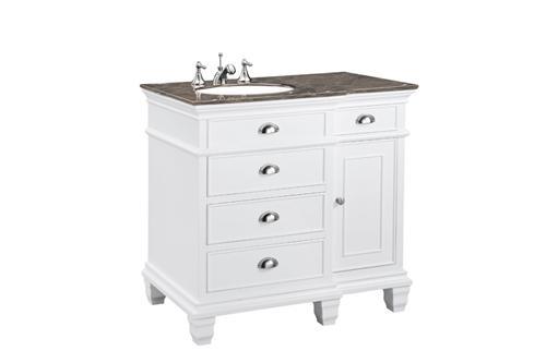 STEINWORLD 36 SINGLE BATH VANITY WITH BLACK WHITE MARBLE TOP BATH VAN