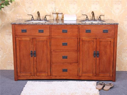 60 Quot Mission Style Wood Double Bath Vanity With Granite