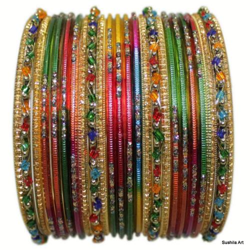 Set of 24 Multi Color Indian Bangles Set