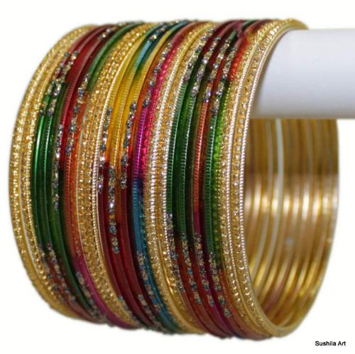 Set of 24 Indian Metal Bangles Multi Color