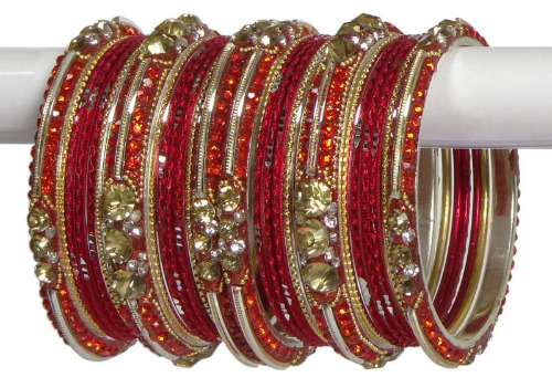 Indian Ethnic Bangles Bollywood Belly Dance Matching Fashion Bracelets Red & golden