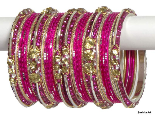 Indian Ethnic Bangles Bollywood Belly Dance Stones Bracelets Hot Pink & Silver