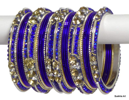 Indian Ethnic Bangles Bollywood Belly Dance Stones Fashion Bracelets Blue & golden
