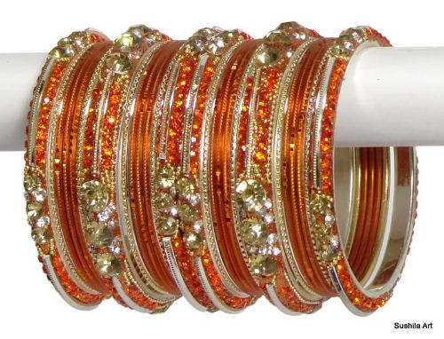 Indian Ethnic Bangles Bollywood Belly Dance Stones Bracelets Orange & Golden