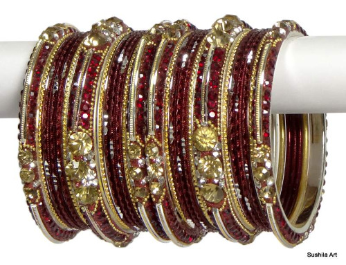 Indian Ethnic Bangles Bollywood Belly Dance Stones Bracelets Deep Maroon & Golden