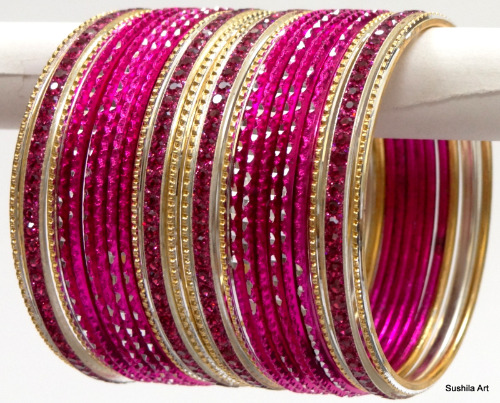 Beautiful Indian Ethnic Bangles Costume Matching Belly Dance Bracelets Hot Pink