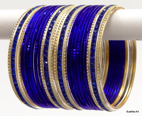 Indian Ethnic Bangles Costume Matching Belly Dance Bracelets Blue & Golden